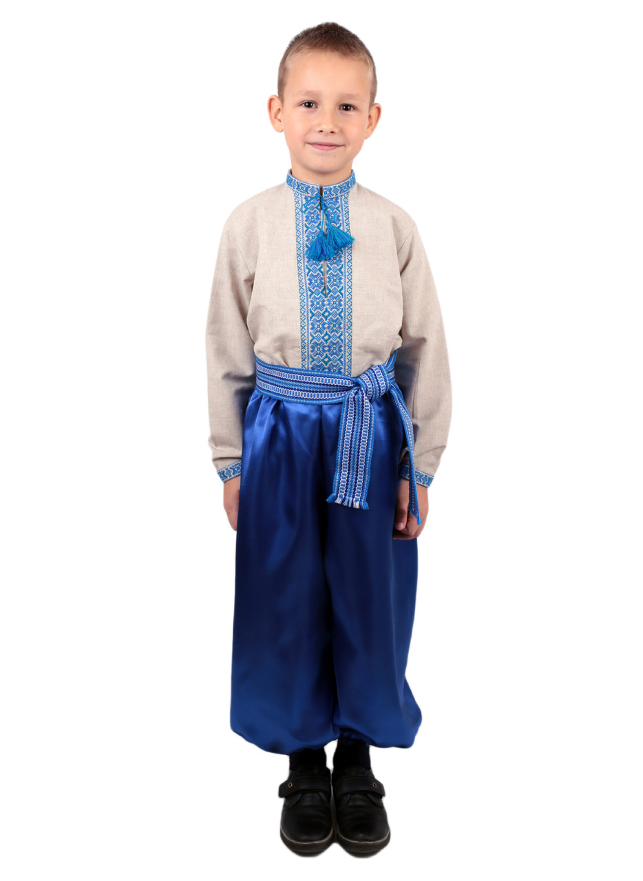 Дитяча лляна сорочка для хлопчиків з голубим орнаментом