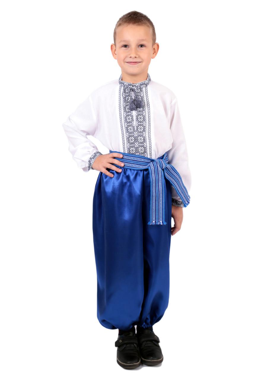 Дитяча сорочка для хлопчиків з сірим орнаментом на домотканому