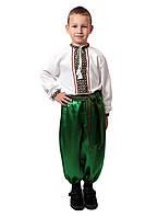 Дитяча сорочка для хлопчиків на домотканому з зеленим орнаментом , фото 1