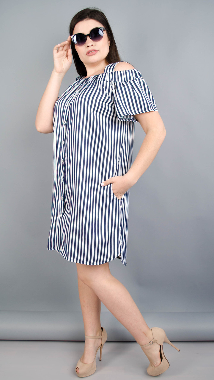 Клариса. Гарна сукня-сорочка плюс сайз. Синя смужка Розмір 50 52 54 ... 1622fc9de1c8c