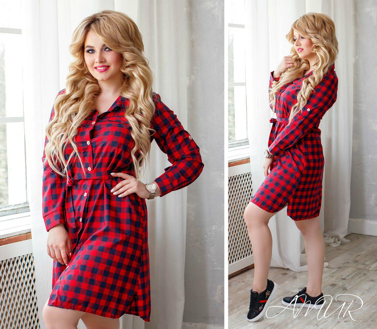 93e10d6bc45 Женская удлиненная коттоновая рубашка в клетку с поясом Батал - Интернет- магазин