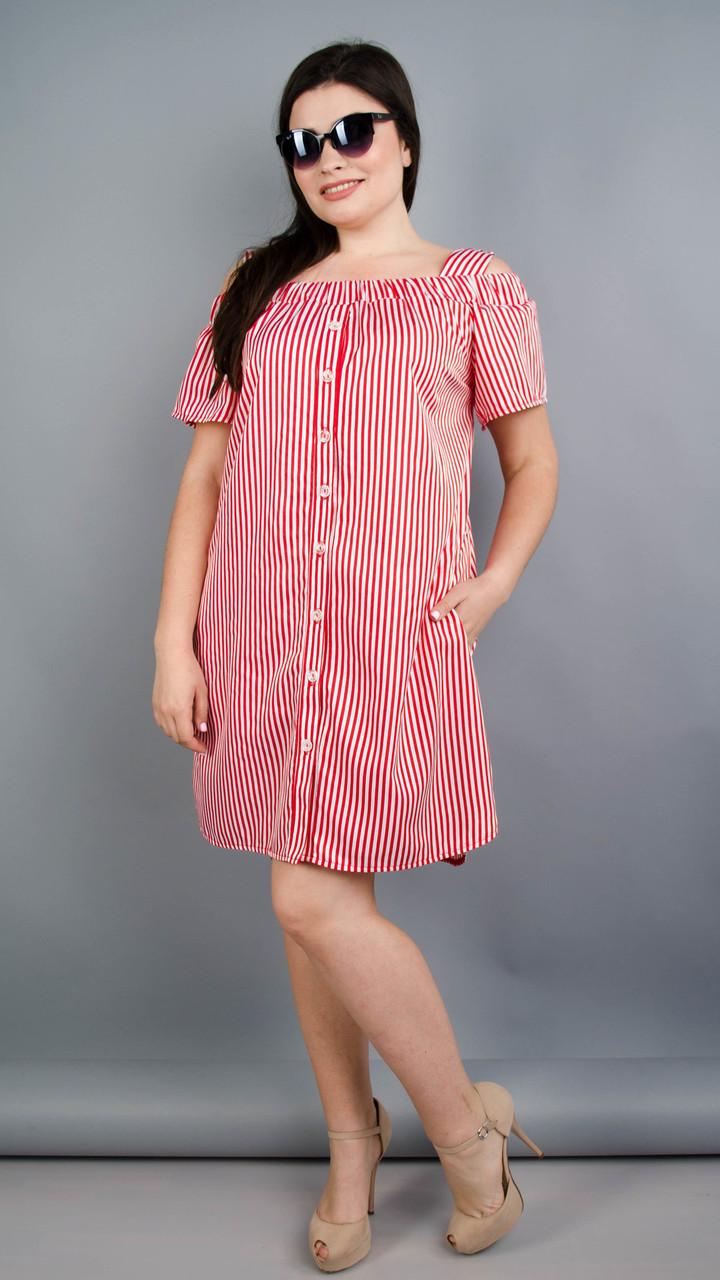 Клариса. Гарна сукня-сорочка плюс сайз. Смужка червона Розмір 50 52 54 56 2b7d9c70f79ba