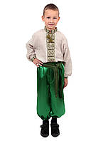 Дитяча лляна сорочка для хлопчиків з зеленим орнаментом