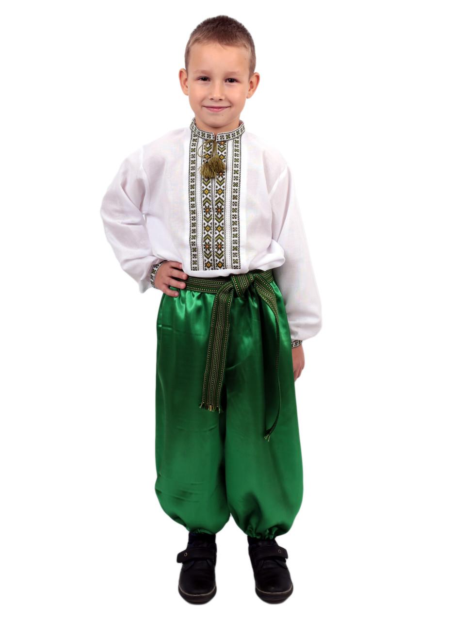Дитяча сорочка для хлопчиків з зеленим орнаментом на домотканому полотні