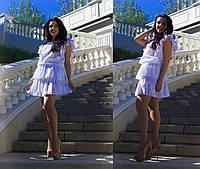 Хлопковое платье шемиз декорировано воланами и напуском