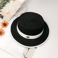 Шляпа женская летняя канотье в стиле Maison Michel черная, фото 1