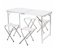 Комплект мебели складной Folding Table 120*60 cm White, фото 1