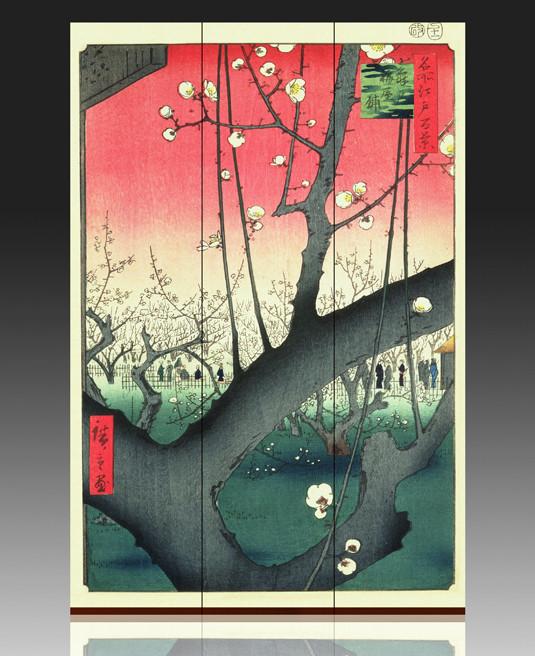 Ширма по мативам картины Сливовий сад Андо Хиросигэ