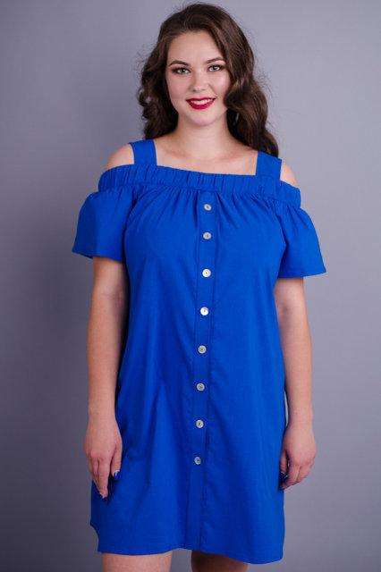 Клариса. Оригінальна сукня-сорочка plus size. Електрик Розмір 50 52 54 56 58 31de92cf9b39e