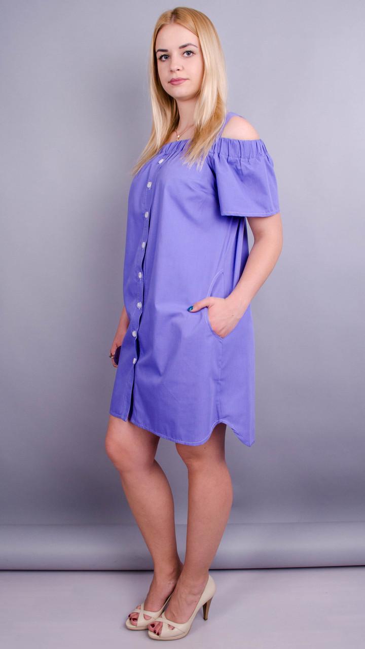 Клариса. Стильна сукня-сорочка великих розмірів. Бузок Розмір 50 52 54 56 58 0bcd43e06a901