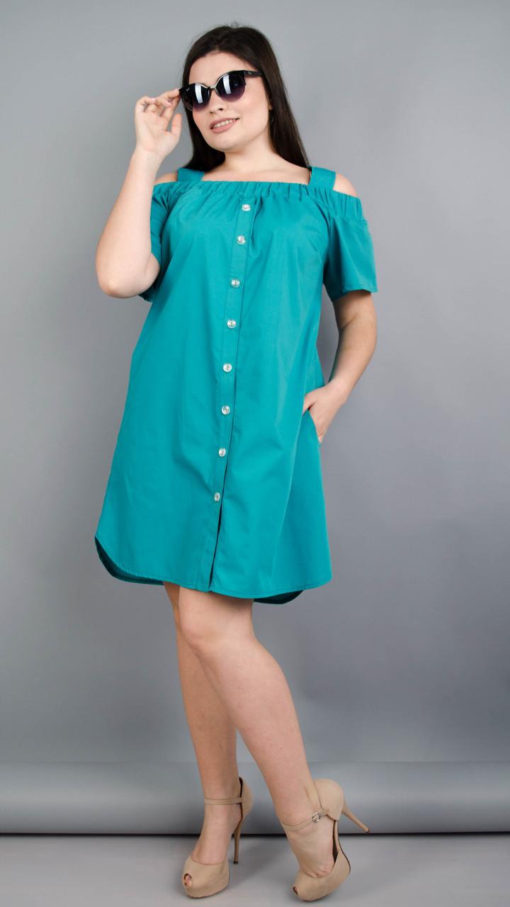 Клариса. Стильна сукня-сорочка великих розмірів. Бірюза Розмір 50 52 54 56  58 69ef46ffb443a