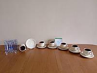 Стеклянная Мини-конфетница, и оригинальный глиняный(кераміка) набор чашек с блюдцем с Германии б\у