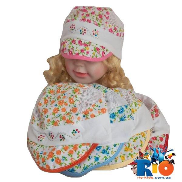 Детская кепка  цветная, вставки сетка, для девочки р-р 46-48 (5 ед в уп)