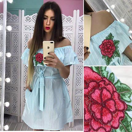 8217b5bfc9c Платье свободного кроя с открытыми плечами и вышивкой 42-44 р - Цена ...