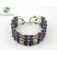 """Эксклюзивный браслет """"Огни большого города"""", Изысканный браслет из натурального камня, фиолетовый браслет"""