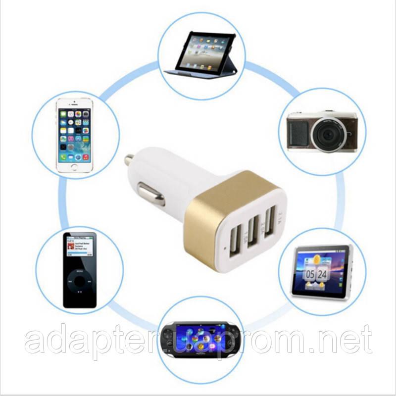 Зарядное устройство DL-12V3USB; 12V > 3*USB Mini; автомобильное 2.1A