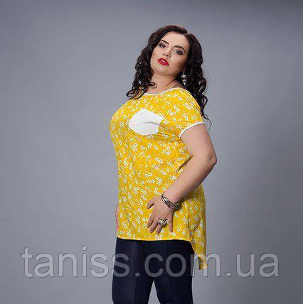 Летняя блуза из шелка , отделка лен, р. 50,52,54,56 желтый (503)