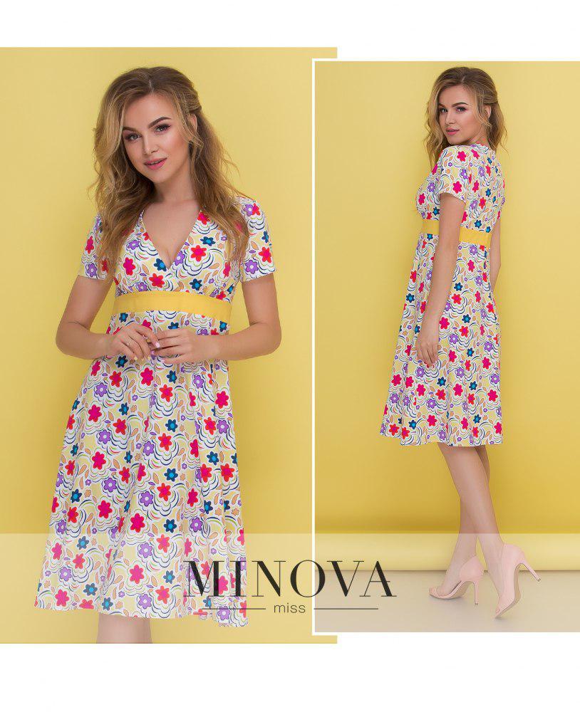 Платье с глубоким декольте на завышенной талии и короткими рукавами ТМ Минова Размер: 42,44,46,48