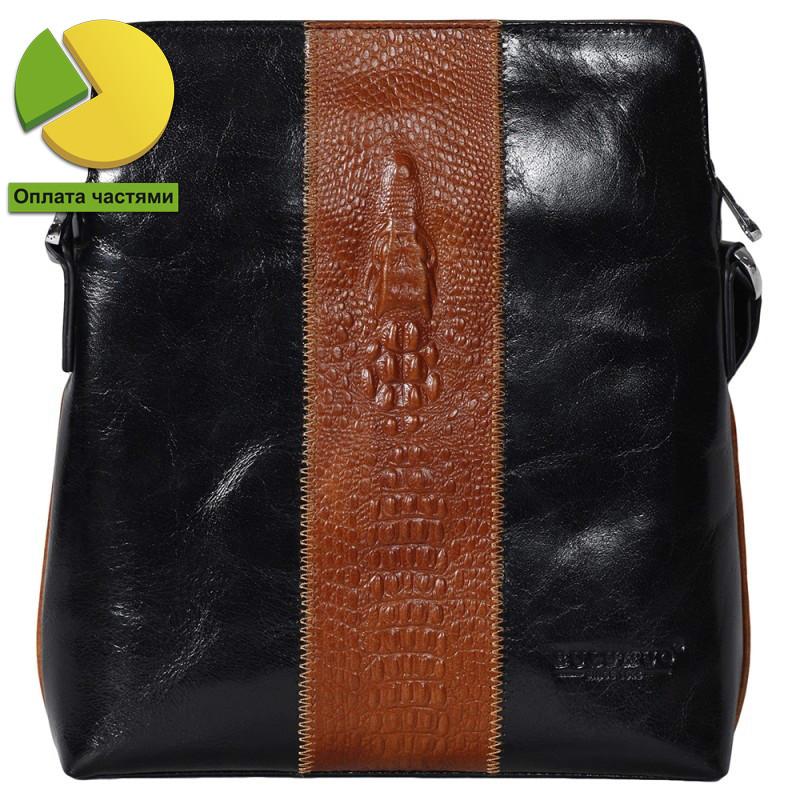 Изящная мужская кожаная сумка черно-рыжая под крокодила Bulunuo BL0059