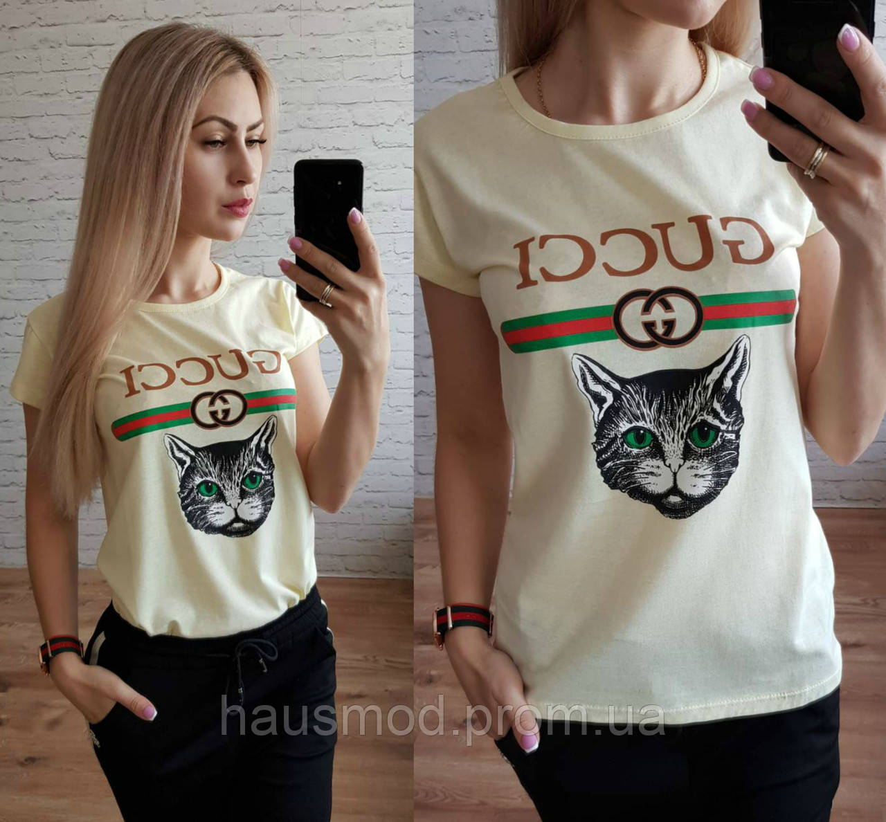 Женская футболка реплика Gucci катон принт кошка лимон