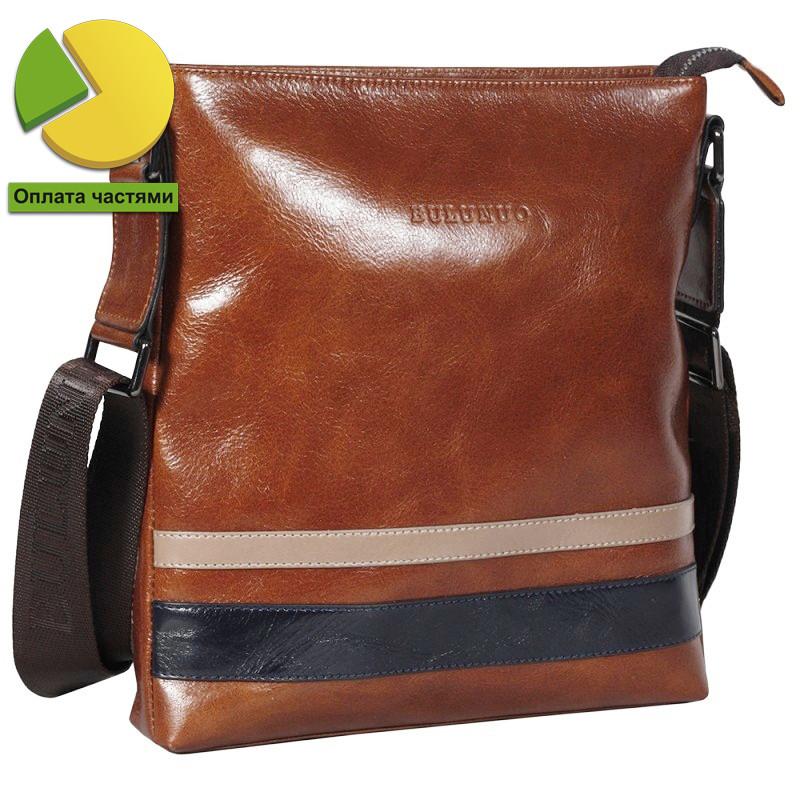 Уникальная мужская кожаная сумка рыжая глянцевая Bulunuo BL005915-11