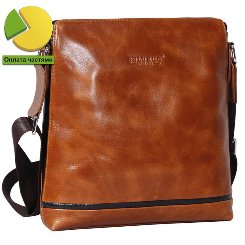 Изысканная мужская кожаная сумка рыжая глянцевая Bulunuo BL005921-11