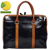 760e4c17d6ae Уникальная мужская кожаная сумка-портфель комбинированная черно-рыжая  Bulunuo BL005941-31