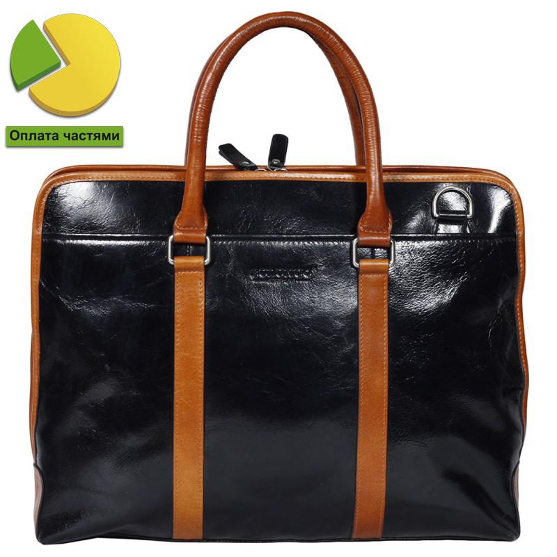 Уникальная мужская кожаная сумка-портфель комбинированная черно-рыжая