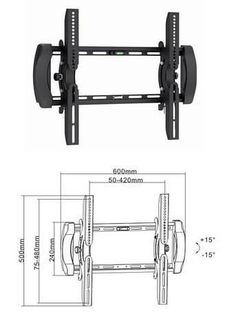 Brateck PLB6EB - наклонное крепление для телевизора, фото 2