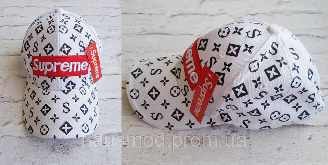 Хит сезона!  новинка женская кепка Louis Vuitton Supreme катон белая