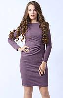 Женское трикотажное платье сливового цвета с длинным рукавом. Модель 451 Mirabelle
