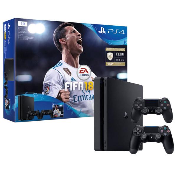 Игровая приставка Sony PlayStation 4 Slim 1TB + игра FIFA 18 + второй джойстик Dualshock 4