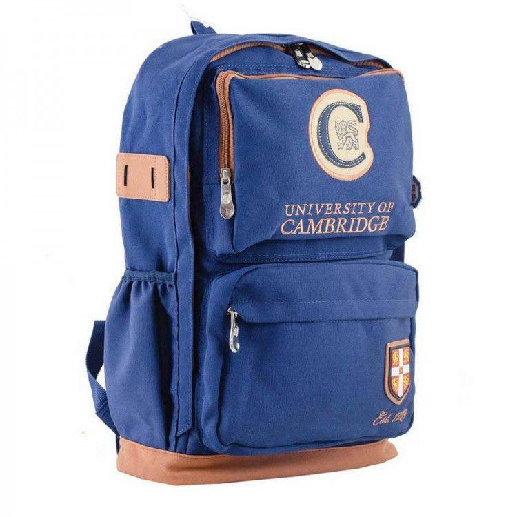 b1d881793f00 Рюкзак синего цвета со вставкой из искусственного нубука 1Вересня арт.  554073
