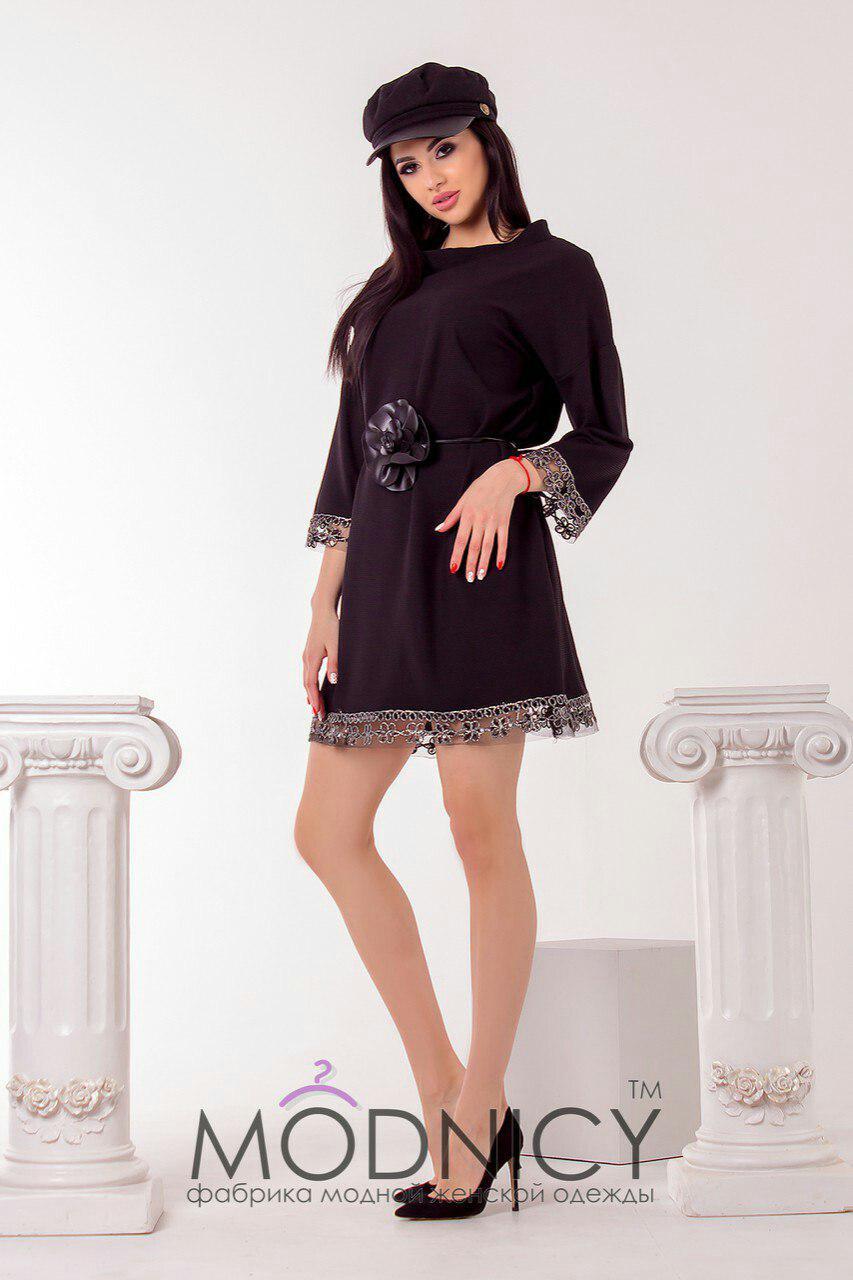 98a76142e67 Черное стильное женское трикотажное платье с отделкой из кружева и поясом в  комплекте. Арт-