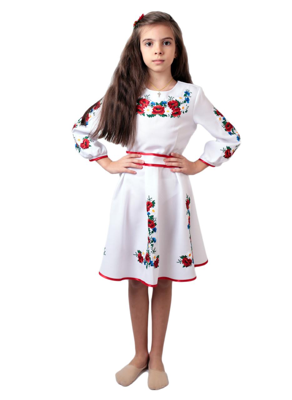 Вишите дитяче плаття на габардині білого кольору на довгий рукав