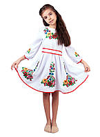 Вишите дитяче плаття на габардині білого кольору на довгий рукав, фото 1