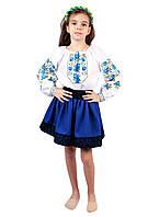 Дитяча вишита сорочка для дівчаток на домотканому полотні, фото 1