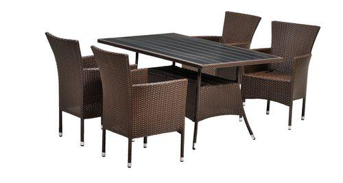 Комплект садовой мебели из искусственного ротанга коричневый (6 кресел, стол 2 метра)