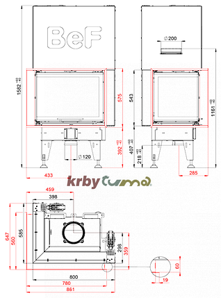 Каминная топка BeF Home Bef Therm V 8 CP, фото 2
