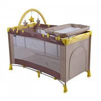 Кровать-манеж Bertoni PENNY 2L+-PENNY 2L+-beige yellow, пеленатор, дуга с игрушками, капюшон
