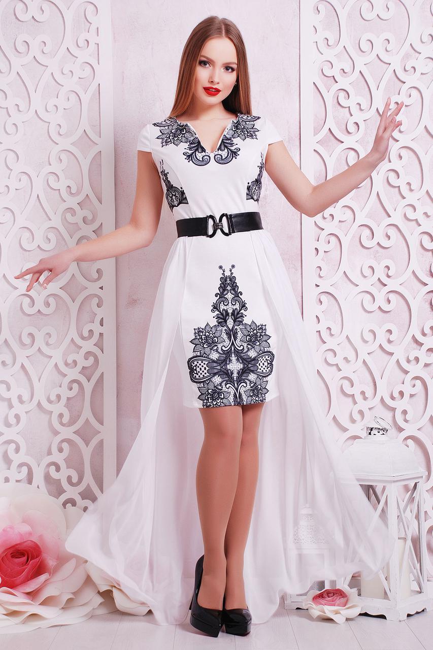 Сукня з креп-дайвінгу + шлейф з шифону