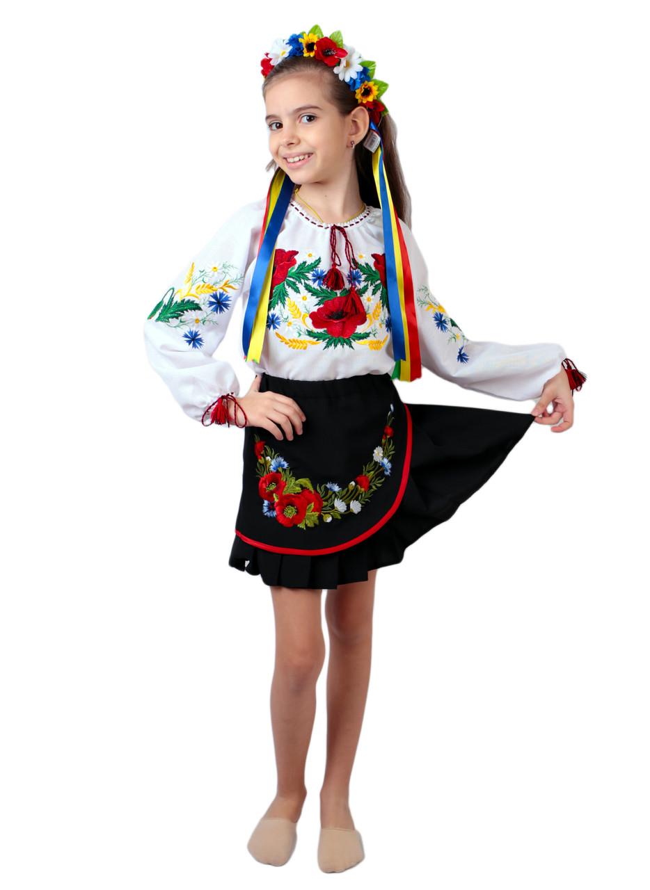 Дитяча спідничка габардинова чорного кольору з квітковим декором