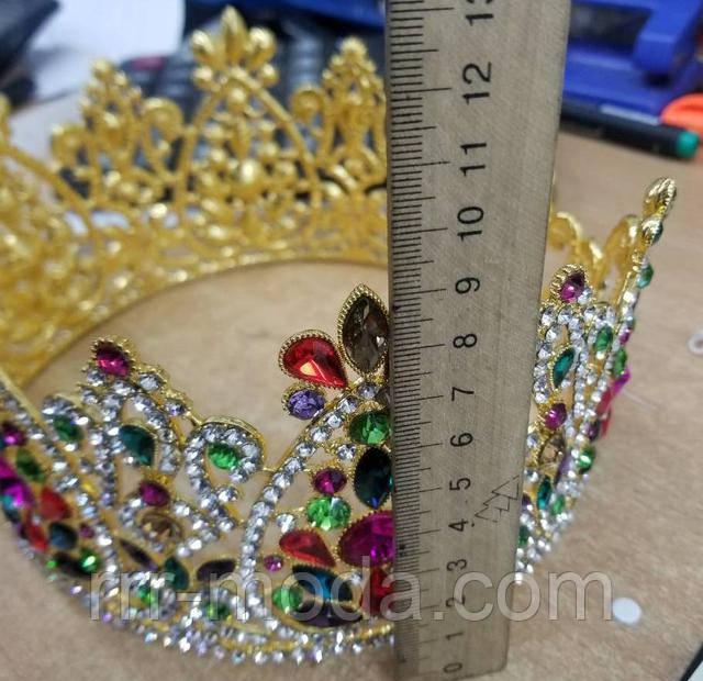 Бижутерия оптом RRR - круглые свадебные короны с цветными камнями.