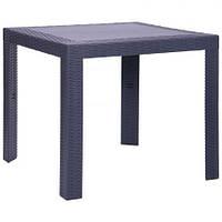 Стол для улицы Saturno 80х80 пластик Ротанг антрацит