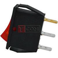 Переключатель узкий с подсветкой IRS-101-1С ON-OFF, 3pin, 15A, 220V, красный