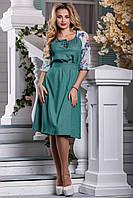 Легкое Коттоновое Платье с Шифоновыми Рукавами Зеленое М-2XL, фото 1