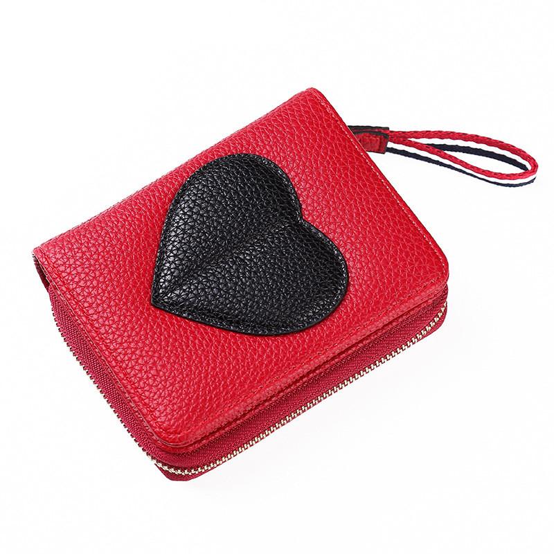 Женский кошелек BAELLERRY Ladies Wallet кожаное портмоне на молнии Красный (SUN0552)