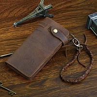 Стильный винтажный мужской клатч портмоне ручной работы из натуральной кожи