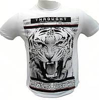 Футболка мужская с тигром белая