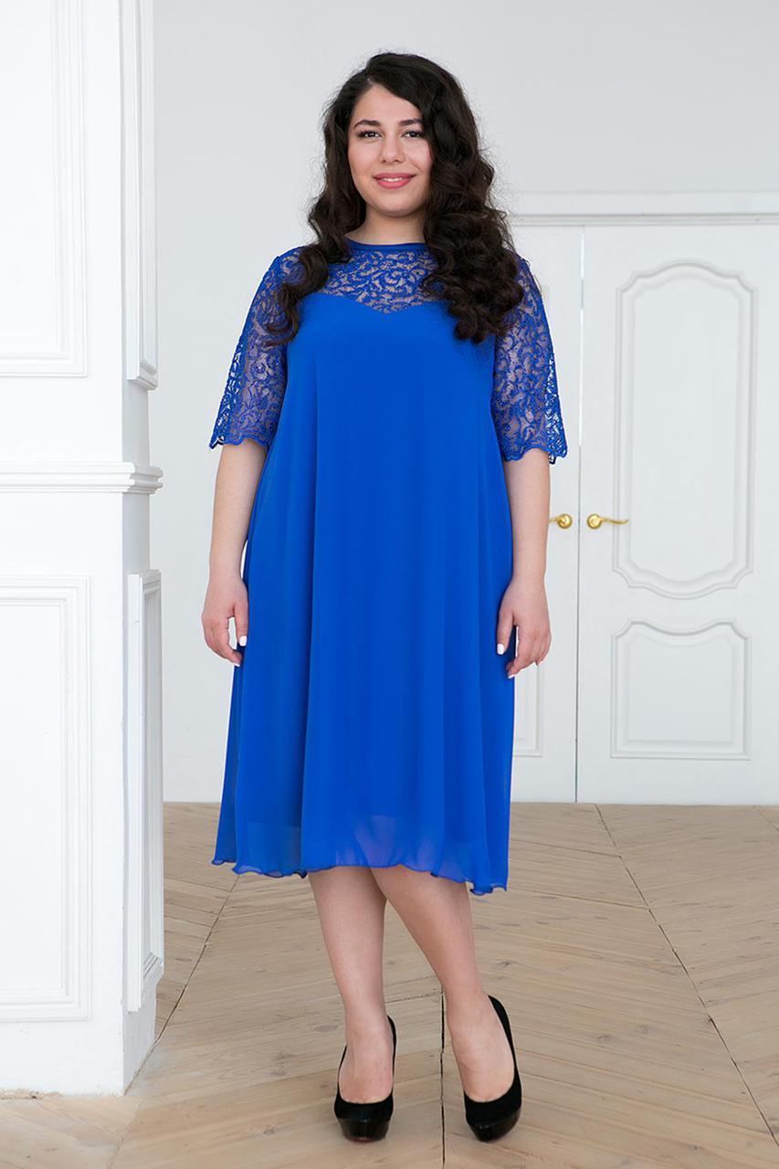 9bb01c87ef0b8 Свободное нарядное платье для полных женщин Камалия синее 54 - DS Moda - женская  одежда оптом